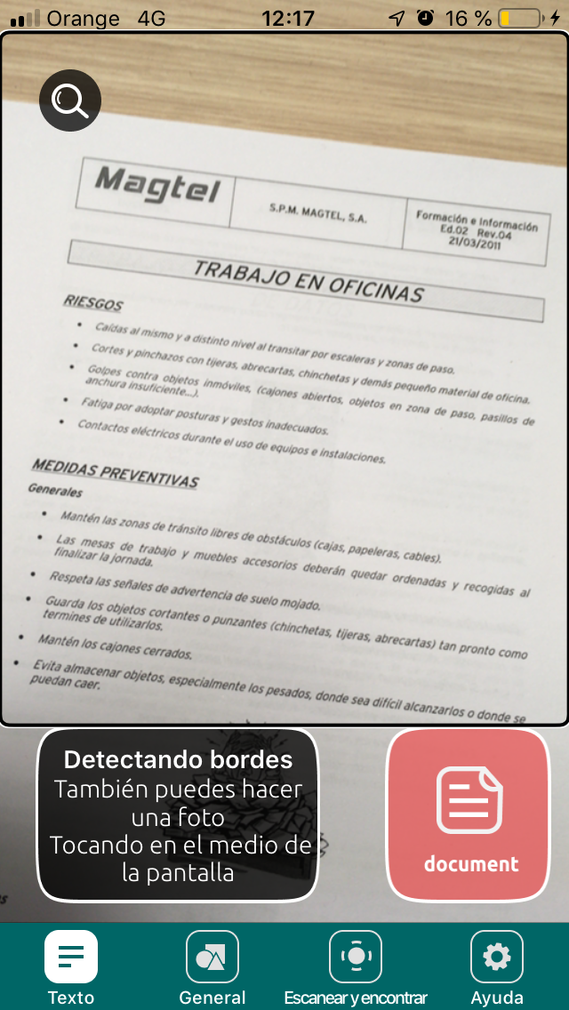 Escaneo de documento en IOS