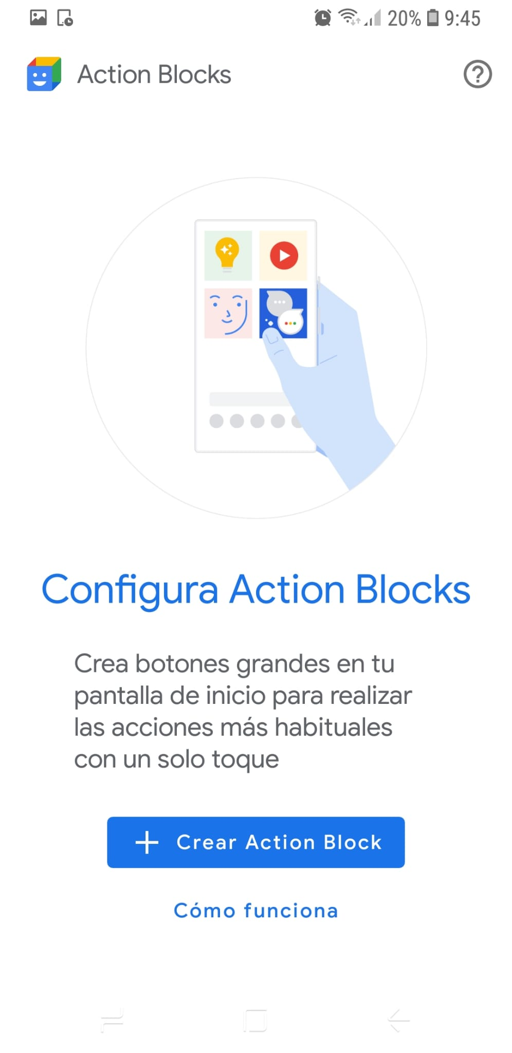 Pantalla configura Action Blocks