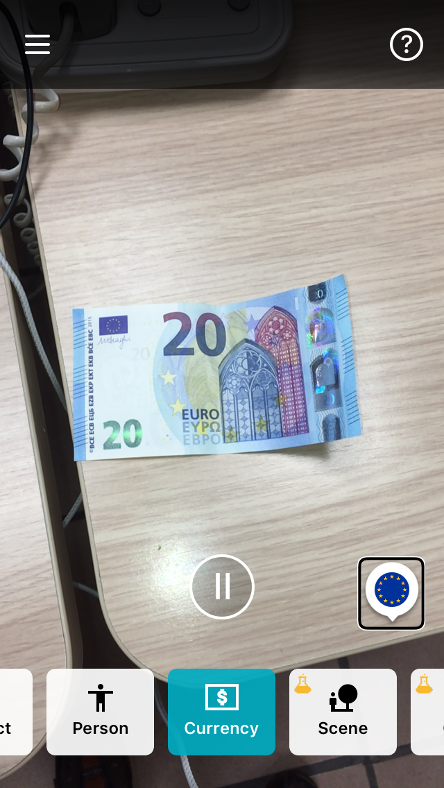 20€ ticket recognized by the application