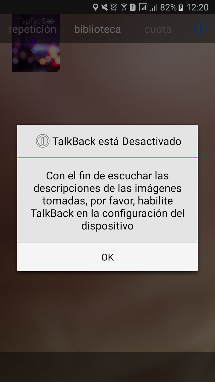 Talback activation message
